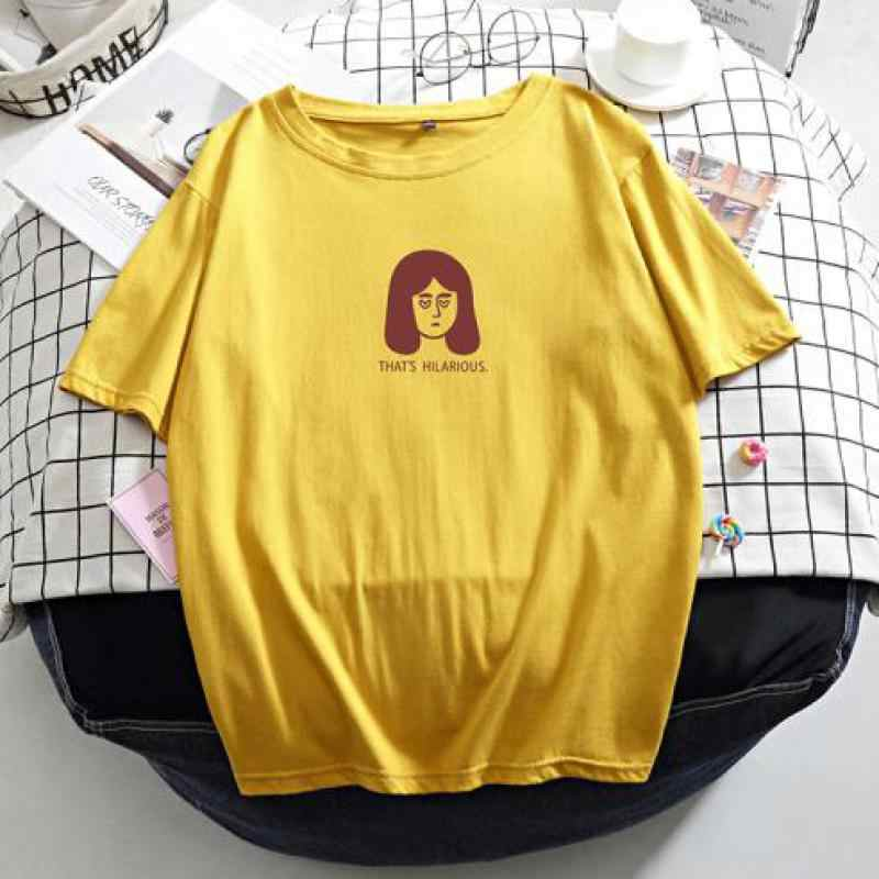 Genayooa, Camiseta de algodón de alta calidad para mujer, camiseta de verano de talla grande, camiseta de gran tamaño con estampado coreano para mujer, camisetas holgadas Vintage 2020