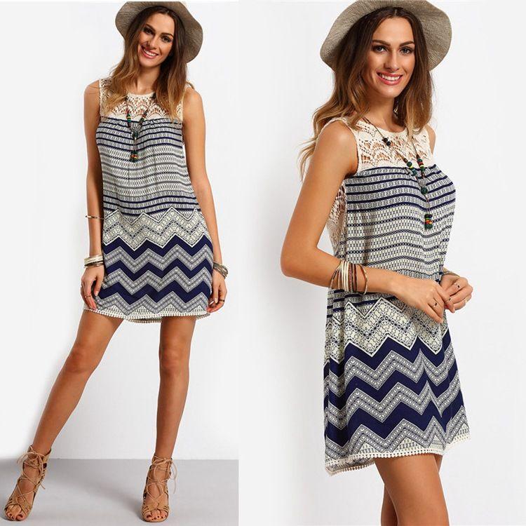 Sleeveless Skirt For Girls Women's Summer Casual Dress O Neck Loose Lace Dresses