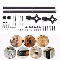 Rhombus Shape Sliding Track Space Saving Modern Door Hardware Antique Style Track Kit Bypass Wood Roller Building Supplies