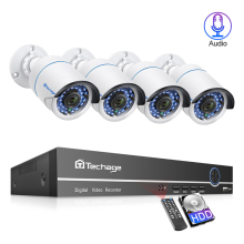 Techage 4CH 1080P 48V POE NVR CCTV Security System 2MP Audio IP Camera Outdoor IR Night Vision P2P Video Surveillance Kit