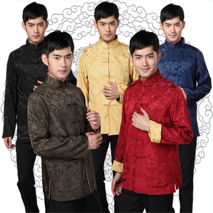 5Color 2020 Men's Chinese Top Traditional Chinese Fashion Clothing New Year Tangsuit Embroidery Shanghai Men Shirt S-3XL