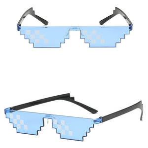 Image 3 - TTLIFE Funny Glasses Men Thug Life Sunglasses Mosaic Masculine 8 Bits Style Pixel Ridiculous Accessory Black Polygonal Oculos