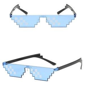 Image 3 - TTLIFE مضحك نظارات الرجال البلطجة الحياة النظارات الشمسية فسيفساء المذكر 8 بت نمط بكسل إكسسوار سخيفة الأسود مضلع Oculos