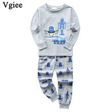 Vgiee Children Boys Girls Clothes Fall Winter Full Cotton Unisex Crtoon Pattern for Robot Baby Kids Girl Set CC646