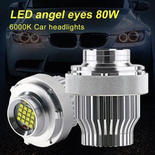 NEW Headlights Bulb CREE LED Halo Ring Angel Eye Bulb 80W 6000K 4800LM Decoding for BMW E60LCI Car Headlight Chips Fast delivery