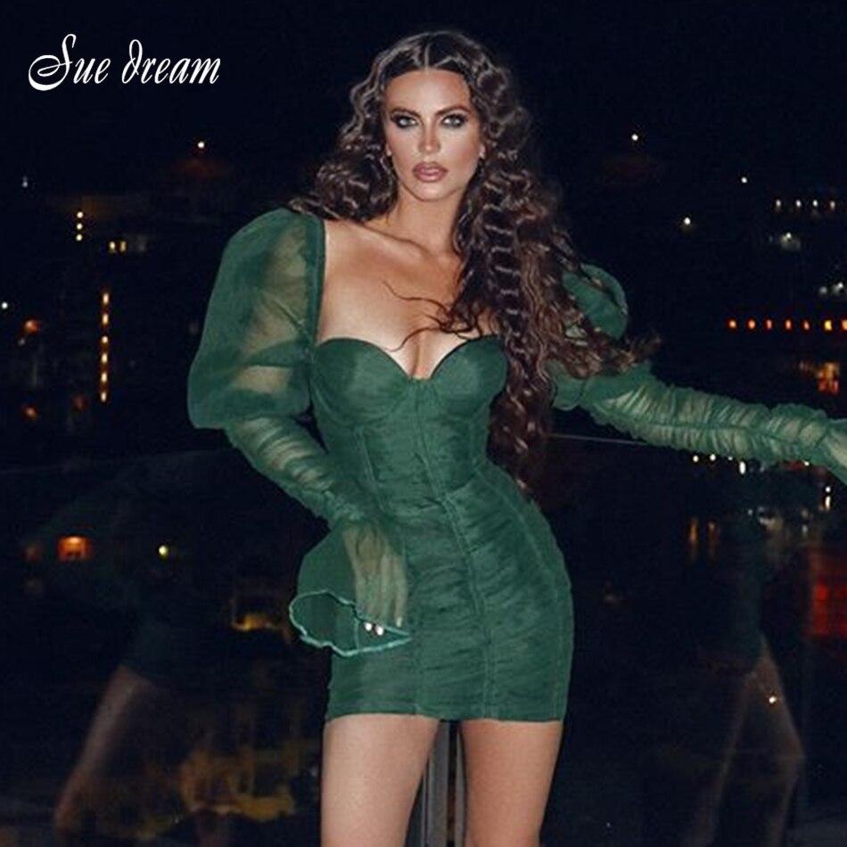 2019 nouveau automne femmes rétro à manches longues col en v drapé Mini vert robe à manches longues maille Sexy moulante fête indice robe Vestidos