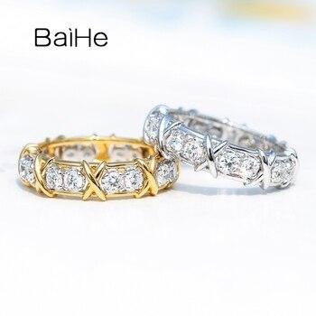 BAIHE Solid 14K White/Yellow/Rose+White gold 1ct Natural Diamonds кольцо Women кольцa man wedding Band Diamond Ring Women 1