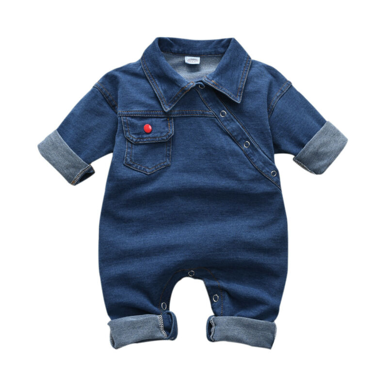 0-4T Focusnorm Toddler Kid Baby Girl Boy Denim Romper Long Sleeve Cool Turn-Down Jumpsuits Playsuit Autumn Outfit Clothes
