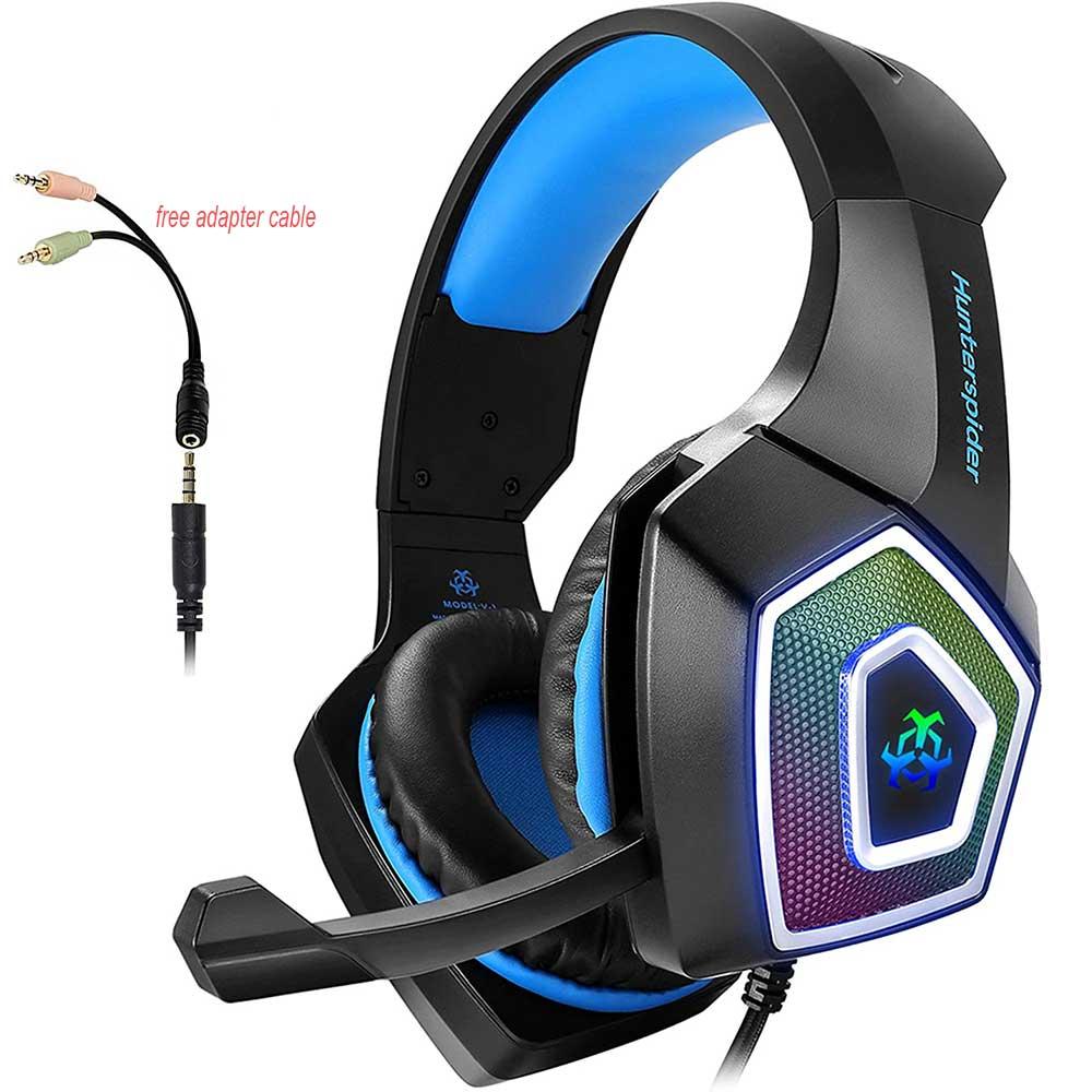 Auriculares para juegos, auriculares estéreo para juegos, auriculares estéreo con graves de 3,5mm, micrófono con cancelación de ruido, 7 luces LED para Xbox One PS4 PC