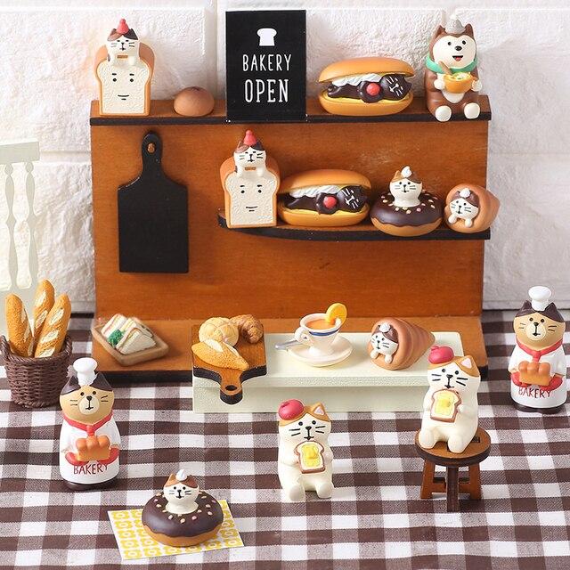 Japan Style Kawaii Cartoon Animals Cat Simulation Food Bread Resin Home Decoration Gifts Miniature Figurines Ornament Hogar 1