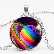 New Cosmic Celestial Body Nine Lines of Stars Empty Necklace Jewelry Pendant Crystal Convex Round Glass Necklace Teacher Gift