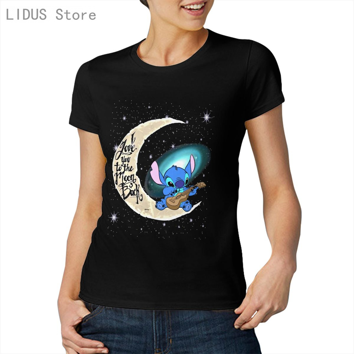 Fashion Graphic T-shirt Cartoon Anime Stitch I Love You To The Moon And Back Casual Women O-neck 100% Cotton T shirt Tees Top