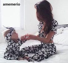Familia juego de conjunto de ropa 2020 mujeres de la hija de madre hijo bebé niños Panda pijamas ropa de dormir pijamas lindo dulce Pijamas