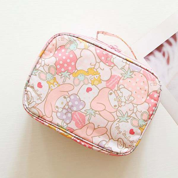 Cartoon Japan Hello Kitty My Melody Cinnamoroll Pompompurin Cosmetic Bags Travel Storage Pouch Wash Bags Girl Makeup Bags