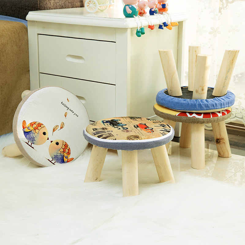 Children's Furniture Seat Stool Wooden Cloth Doorway Change Shoes Small Chair Table Side Kids Children's Stools Pf100806