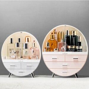 Boîte à cosmétiques à Double porte ronde | Organisateur de boîte à cosmétiques de grande capacité anti-poussière de salle de bains, boîtes à tiroirs de rangement de beauté de bureau