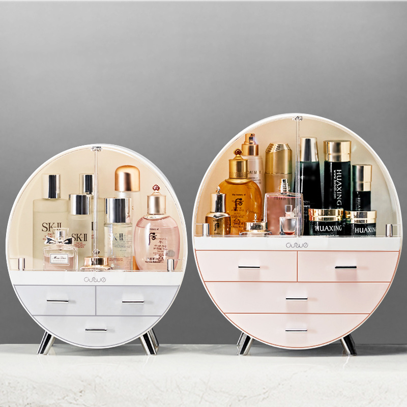 Round Double Door Cosmetic Box Organizer Large Capacity Dustproof Bathroom Makeup Case Desktop Beauty Storage Drawer Boxs