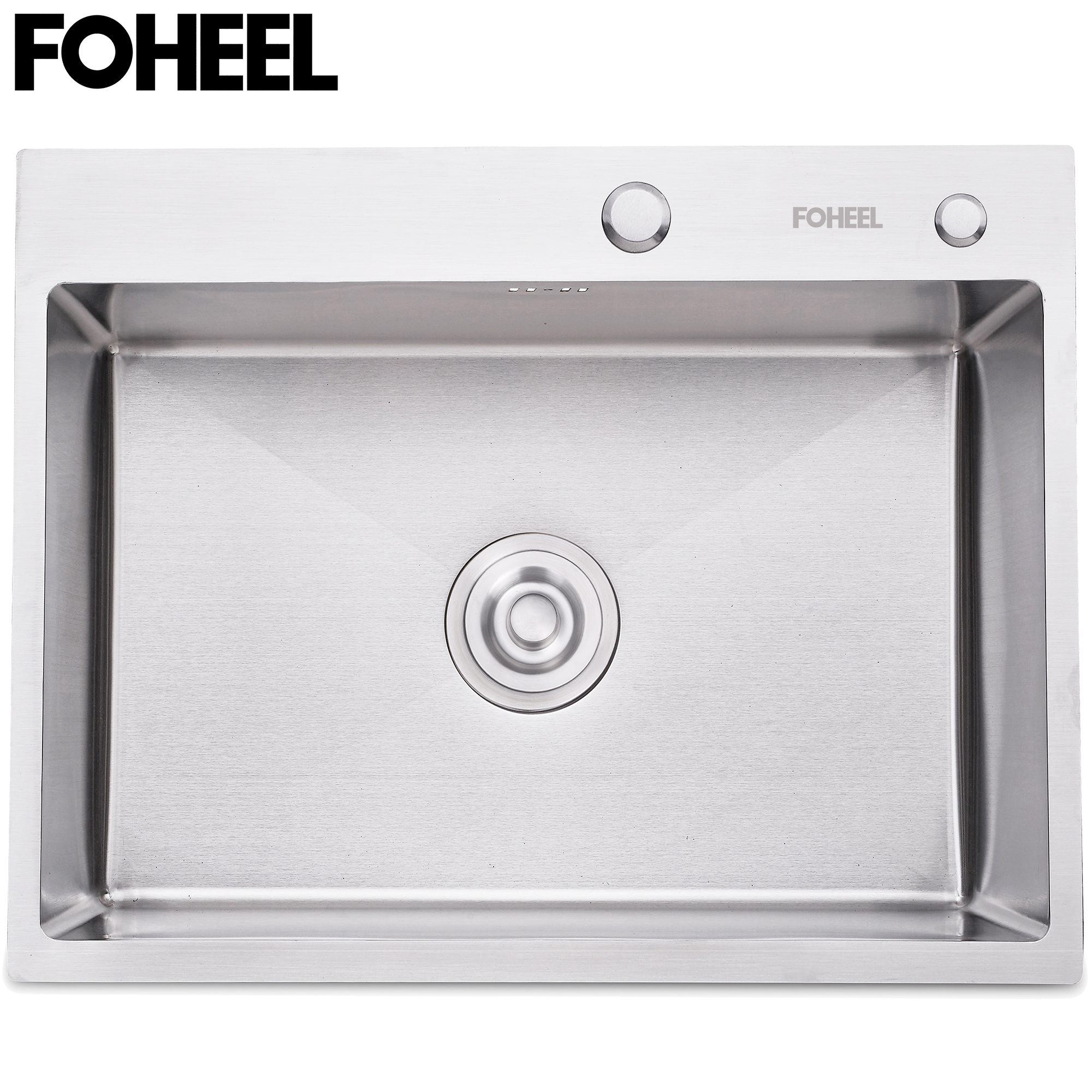 FOHEEL Stainless Steel Kitchen Sink  Slot Dish Basin Kitchen Sink Drain Basket And Drain Pip Rectangular