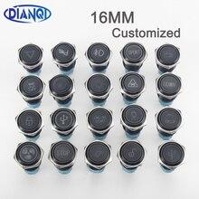16 мм Алюминиевый металлический светодиодный логотип, фиксация, фиксированный кнопочный переключатель, настраиваемый звуковой сигнал для а...