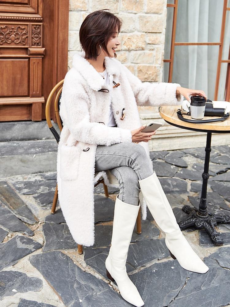 Fur Real Coat Female 100% Wool Coat Winter Jacket Women Sheep Shearling Fur Jackets For Women Long Coat Manteau Femme MY S