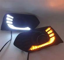 Car Flashing 2pcs For Honda City 2017 2018 2019 LED DRL Driving Daytime Running Light with yellow Turn signal fog lamp Daylight