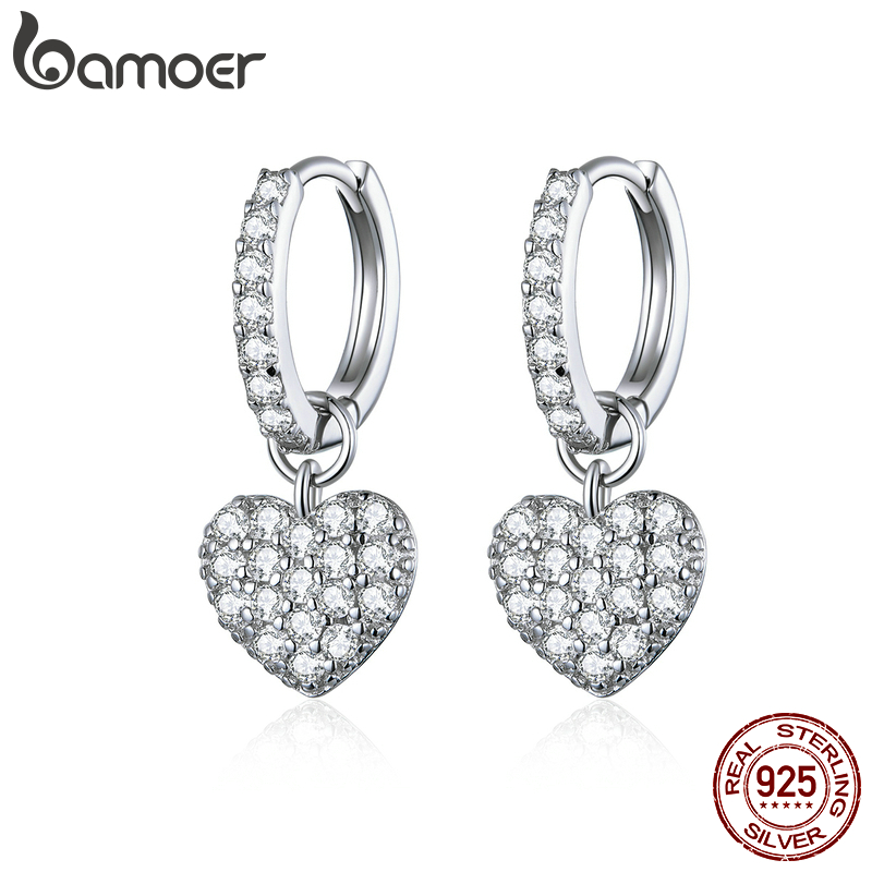 Bamoer 925 Sterling Silver Heart Dangle Earrings For Women Radiant Dazzling CZ Paved Wedding Party Jewelry 2020 Brincos SCE821