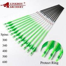 Linkboy Bogenschießen Reinem Kohlenstoff Pfeile ID 6,2mm Spine300 340 400 500 600 für Verbindung Traditinal Recurve Bogen Jagd Zubehör 12ps