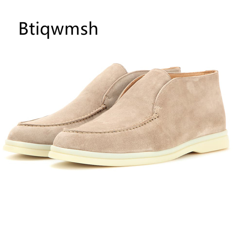 2020 Ankle Boots Women Round Toe Nude Black Brown Oxford Flat Shoes Woman Slip On Lazy Loafer Shoes Winter