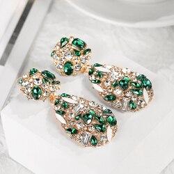 Huitan Elegant Female Party Earrings For Vintage Party Luxury Women Jewelry Colorful Accessories Graceful Lady's Dangle Earrings