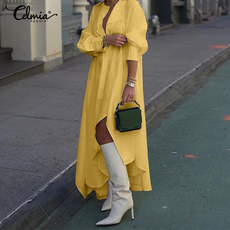 Женское длинное платье-рубашка, Осеннее Ассиметричное платье макси с отворотом и длинным рукавом, повседневное свободное однотонное плать...