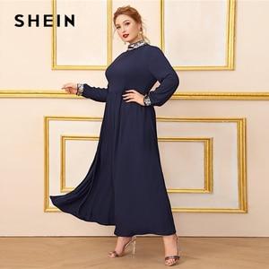 Image 2 - Шеин размера плюс темно синее платье с контрастной отделкой пайетками для женщин, с длинным рукавом, осень, высокая талия, ТРАПЕЦИЕВИДНОЕ элегантное платье макси