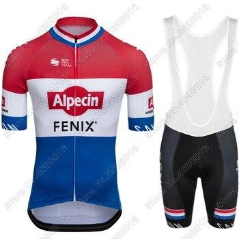 Alpecin Fenix-Conjunto de Jersey de Ciclismo, traje de Ciclismo de carretera, campeón...