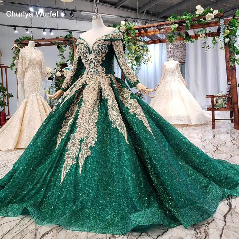 HTL744 Evening Dress Long Sleeve V Neck Floor Length Ball Gown Pattern Green Veil Occasion Dresses For Women Robe Longue Soiree