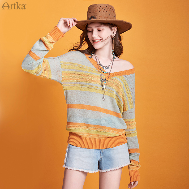 ARTKA 2020 Spring New Women Knitwear Vintage Thin Long Sleeve Loose Sweater V-Neck Pullover Knitwear Soft Wool Sweater YB20101C