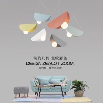 Simple postmodern Nordic color geometric restaurant bedroom children's room window LED decorative Iron Chandelier