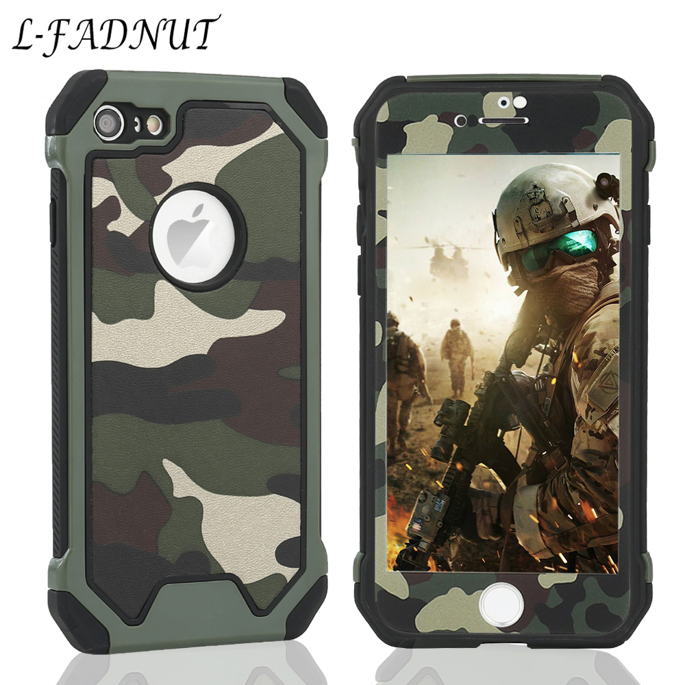 L-FADNUT 360 Camouflage Bumper Case For iPhone X Xr Xs Max 8 7 6S 6 Plus 5 5S SE Silicone Soft Back Cover Capa Screen Protector image