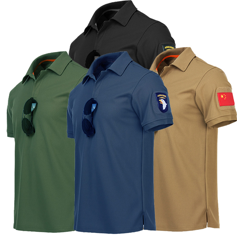 S-4XL Summer Men's Outdoor Sports Quick-drying T-shirt Summer Climbing Training Thin Lapel O Collar Military Tactical T-shirt