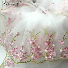 Bilateral symmetrical organza lace jacquard embroidery fabric new dress tutu handmade diy accessories 50x130cm