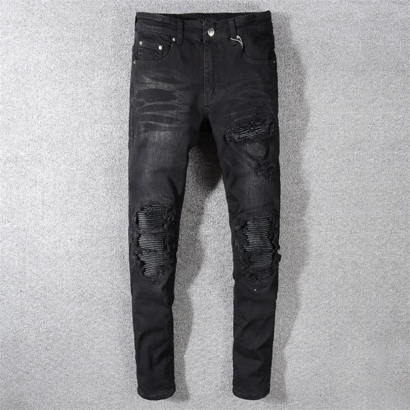 Men 39 s Distressed Ripped Skinny Jeans Fashion Designer Mens Jeans Slim Motorcycle Moto Biker Causal Mens Denim Pants Hip Hop Men in Jeans from Men 39 s Clothing