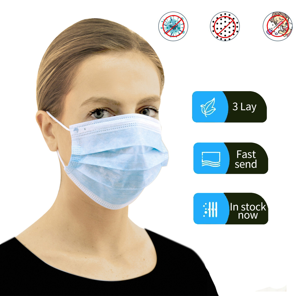 50 Pcs Disposable Dustproof Face Mouth Masks Anti 3-Ply PM2.5Anti Influenza Breathing Safety Masks Face CareElastic Solid Color