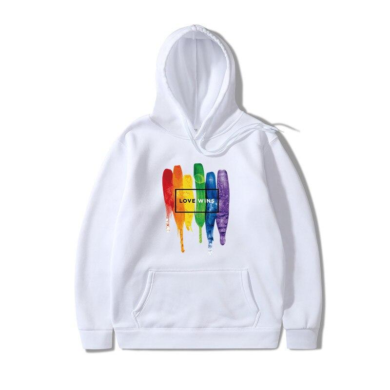 2019 Men Pride Lgbt Love Win Hoodies Sweatshirts Unisex Harajuku Love Is Love Hoodies Women Gay Love Lesbian Rainbow Clothes