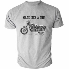 Royal Enfield yapımı gibi tabancası logo T-Shirt retro motosiklet HEATHER 01532(China)