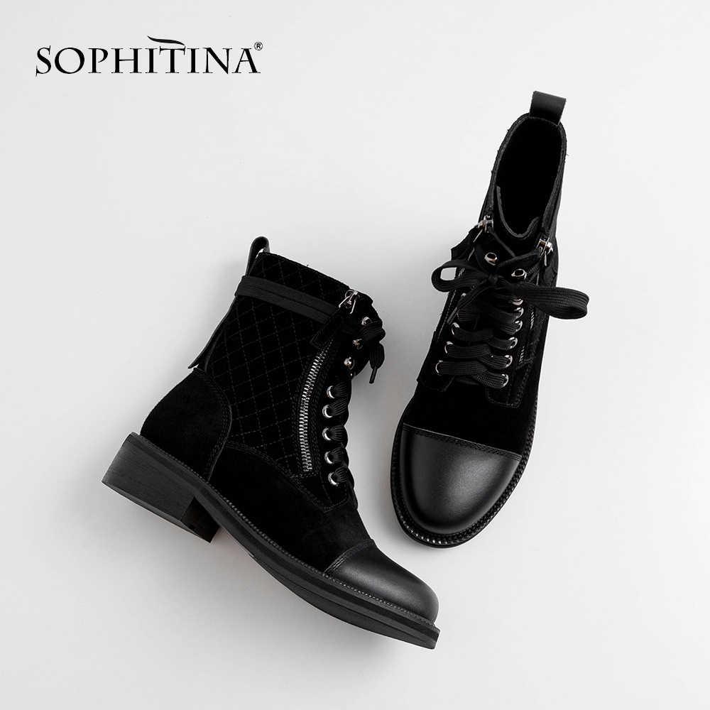 SOPHITINA אופנה נשים של מגפי זמש פרה באיכות גבוהה מיוחד עיצוב אופנוע מגפי נעלי עגול הבוהן כיכר העקב מגפי MO243