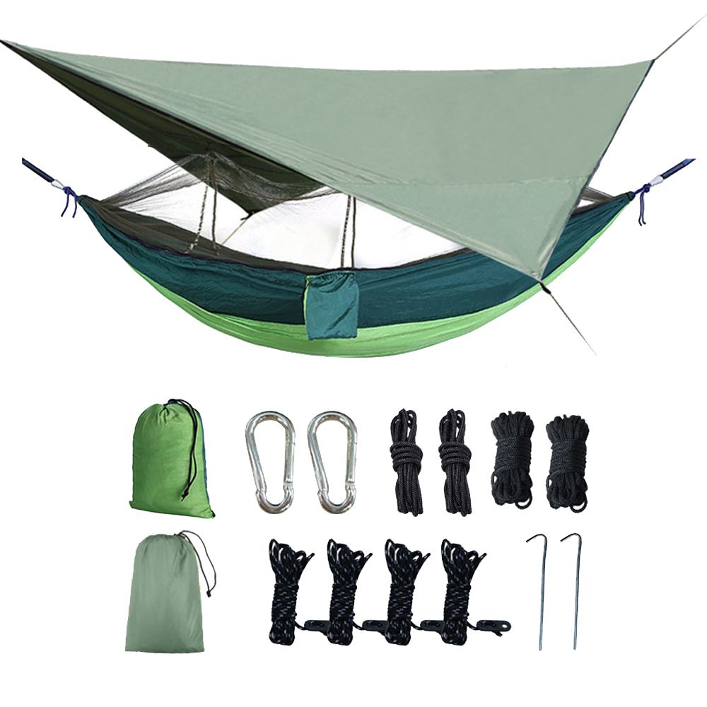 HooRu Portable Camping Hammock Hanging Canopy Tent Mesh Hammocks With Rain Fly Tarp And Mosquito Net Outdoor Swing Bed With Sack