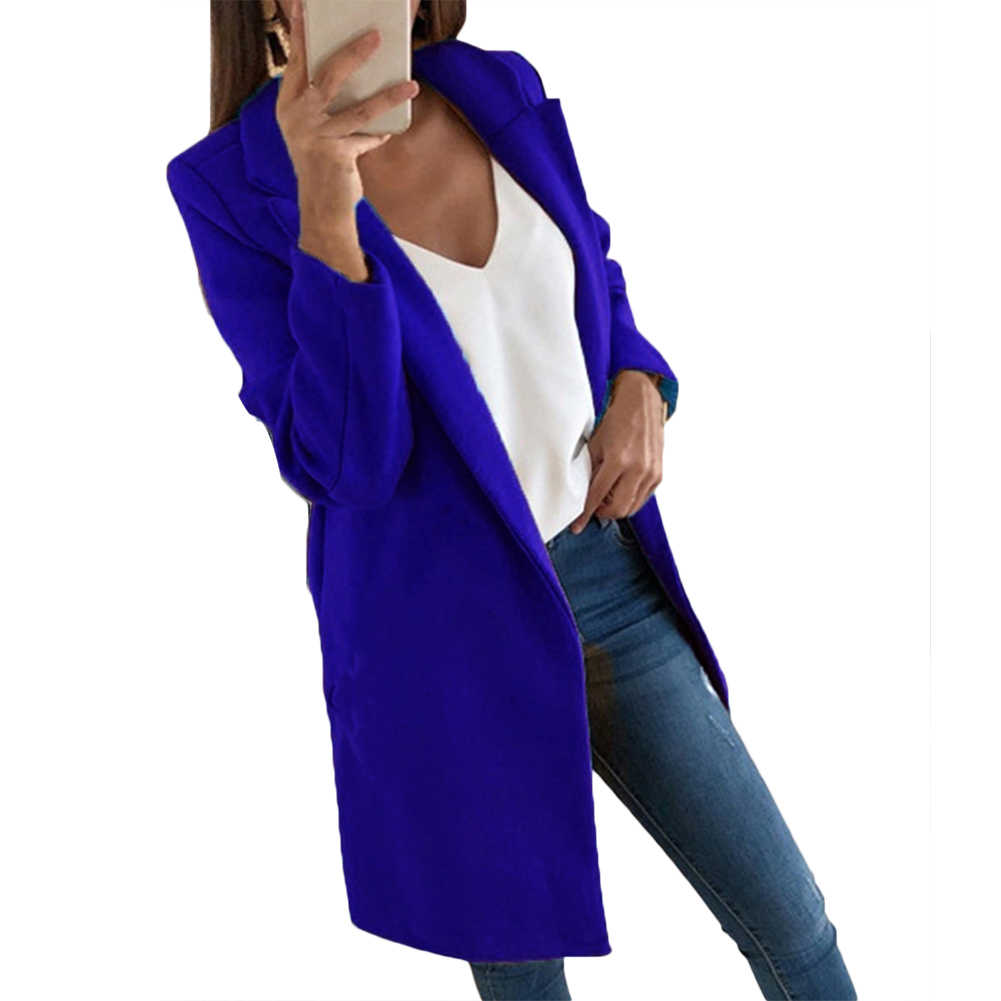 Warna Solid Wanita Musim Dingin Warna Solid Lengan Panjang Kerah Kerah Wol Hangat Cardigan Mantel Panjang