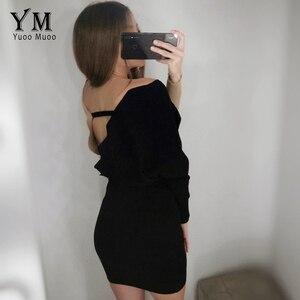 Image 5 - YuooMuoo أنيقة وشاحات الخامس الرقبة فستان منسوج المرأة 2020 مثير عارية الذراعين الخريف طويلة الأكمام سترة فستان السيدات Bodycon فستان قصير