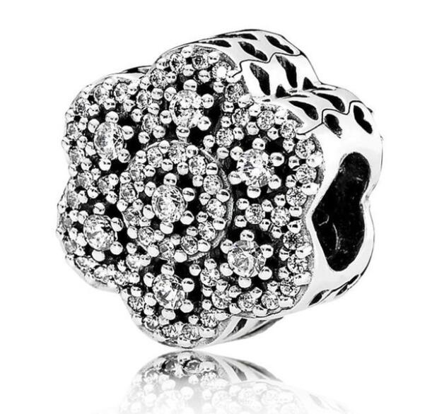 Hollow Floral Authentic 925 Sterling Silver Charm Bead Fits European Charms