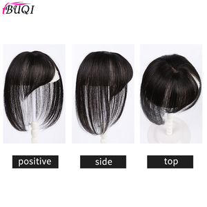 Image 5 - BUQI короткие человеческие волосы, настоящие человеческие волосы, 3D челка на клипсе, 100% натуральный цвет, человеческие волосы для женщин, прямые черные волосы