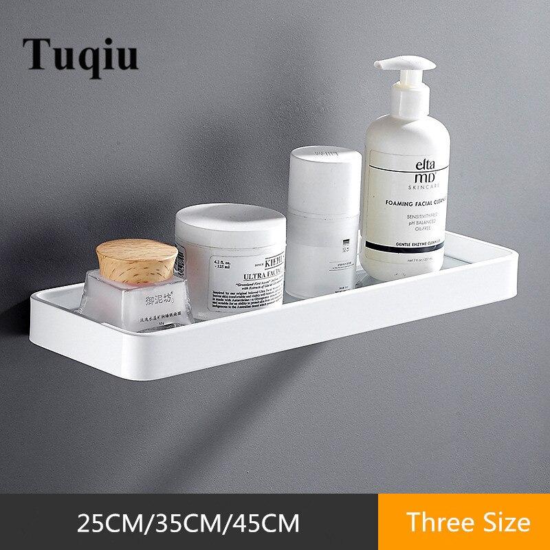 Tuqiu 25CM 35CM 45CM Glass Shelf,Square Bathroom Glass Shelves,White Bathroom Shelf Aluminum Shower Room Rack,Cosmetic Shelf
