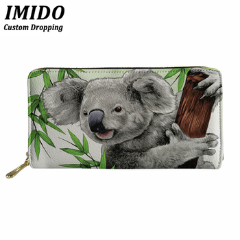 цена IMIDO Female Wallet Lovely Koala Print Long PU Leather Wallet Credit Card Ladies Wallet Cute Wallet And Forever Young Wallet онлайн в 2017 году